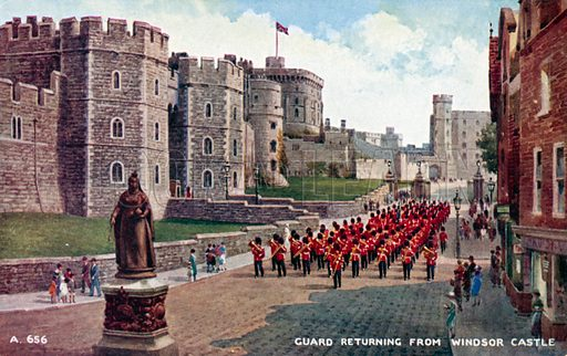 Guard returning from Windsor Castle, Berkshire. Postcard, late 19th or early 20th century.