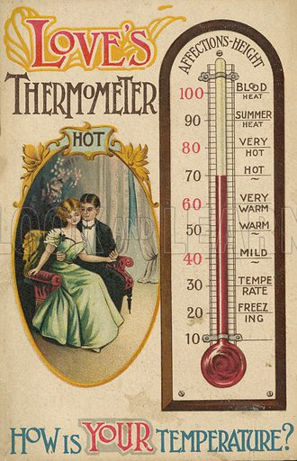 Taking the temperature of lovers. Postcard, late 19th or early 20th century.