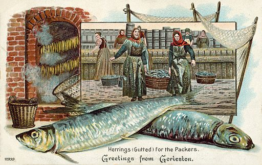 Herrings and packers at Gorleston, Norfolk. Postcard, late 19th or early 20th century.