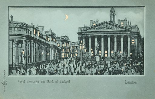 Royal Exchange and Bank of England, London. Postcard, late 19th or early 20th century.