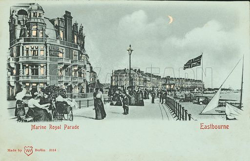 Marine Royal Esplanade, Eastbourne, East Sussex. Postcard, late 19th or early 20th century.