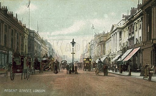 Horse and carriage traffic on Regent Street, London. Postcard, late 19th or early 20th century.