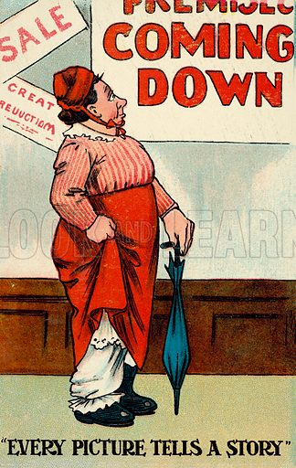 Woman looking at a coming down sign for a premises as her bloomers fall around her ankles. Postcard, late 19th or early 20th century.