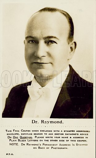 Postcard allowing the recipient to ask Dr Raymond one question. Postcard, late 19th or early 20th century.