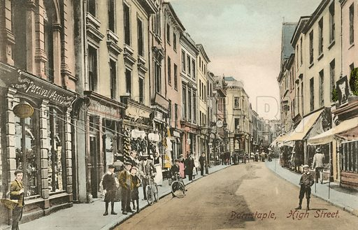 High Street in Barnstaple, Devon. Postcard, late 19th or early 20th century.