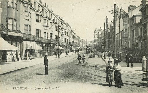 Queen's Road in Brighton, East Sussex. Postcard, late 19th or early 20th century.