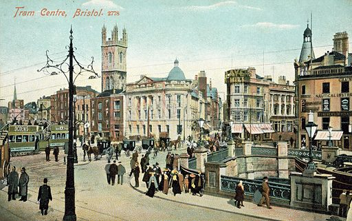 Tram Centre, Bristol. Postcard, late 19th or early 20th century.