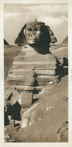 The Great Sphinx on the Giza Plateau, Egypt. Postcard, late 19th or early 20th century.