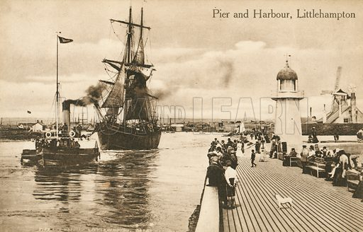 Pier and harbour at Littlehampton, West Sussex. Postcard, late 19th or early 20th century.
