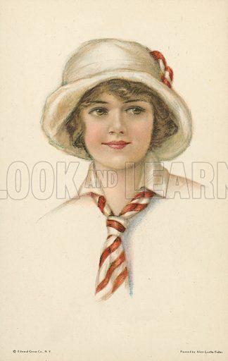 Portrait of a pretty young woman in a cloche hat