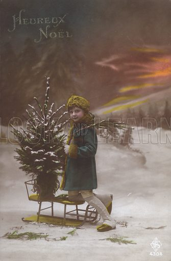 Child with a Christmas tree on a sled, Christmas greeting. Postcard, late 19th or early 20th century.