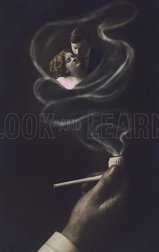 Lovers embracing in the smoke from a pipe