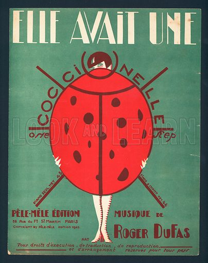 Elle avait une coccinelle (She Had a Ladybird), by Roger Dufas, French sheet music cover, c1920s.