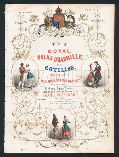 The Royal Polka Quadrille, or Cotillon, Victorian sheet music cover.