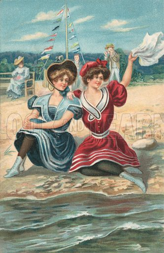 Two girls sitting on a beach. Postcard, early 20th century.