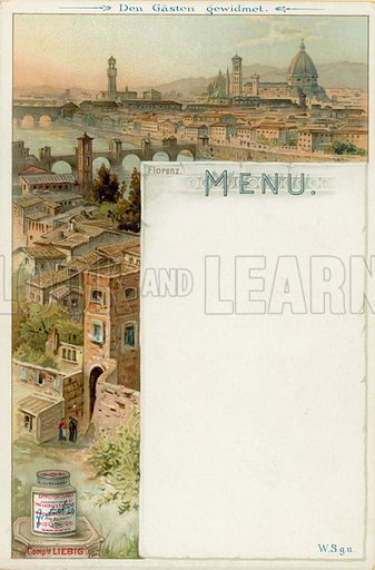 Florence, Italy. Liebig menu card, early 20th Century.