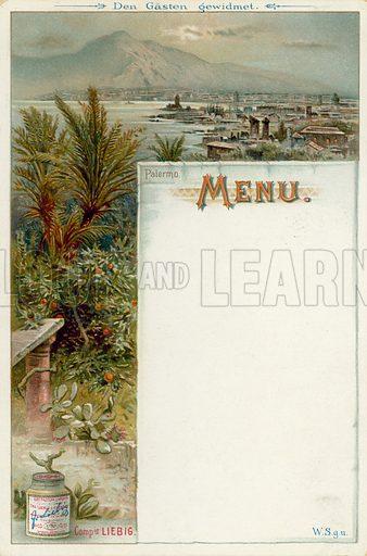 Palermo, Sicily, Italy. Liebig menu card, early 20th Century.