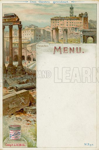The Forum, Rome, Italy. Liebig menu card, early 20th Century.
