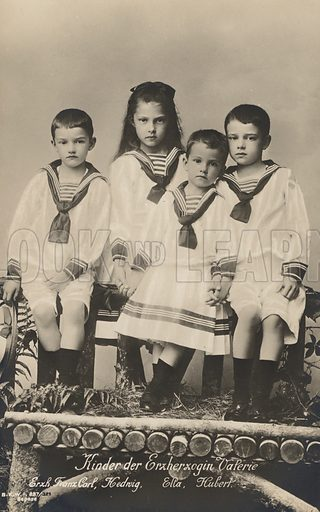 Children of Archduchess Valerie of Austria, youngest child of Emperor Franz Joseph I of Austria. Postcard, early 20th century.