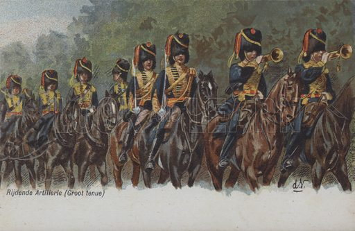 Dutch army horse artillery. Postcard, early 20th century.