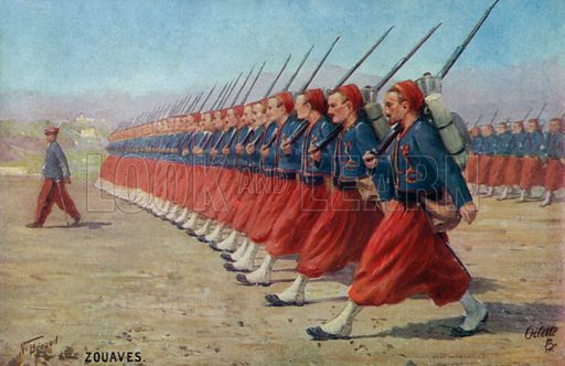 French army Zouaves. Postcard, early 20th century.
