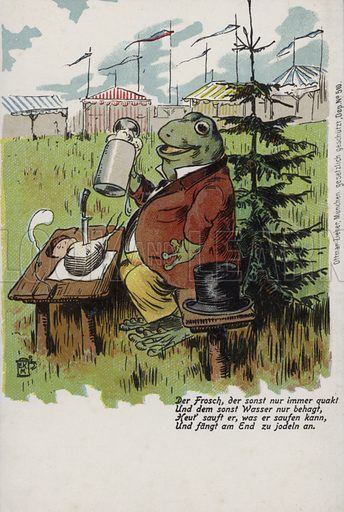 Frog enjoying lunch. Postcard, early 20th century.