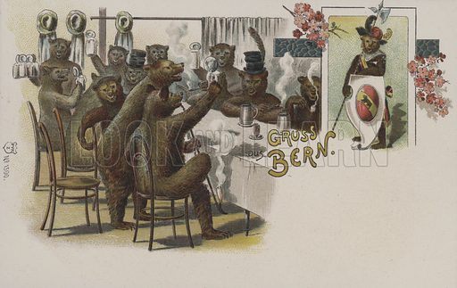 Bears drinking beer, greetings from Bern, Switzerland. Postcard, early 20th century.