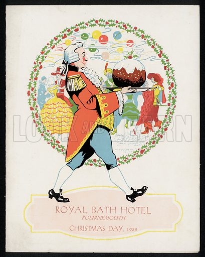 Waiter in Georgian costume carrying a Christmas pudding, advertisement for Christmas Day at the Royal Bath Hotel, Bournemouth, 1953.