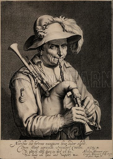 Man playing the bagpipes. After a painting by Abraham Bloemaert.