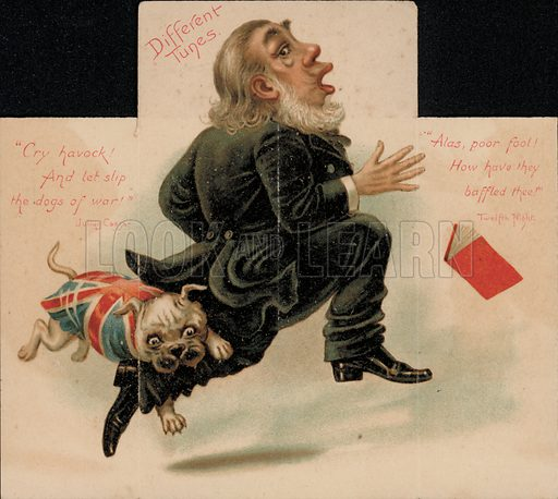 British bulldog sinking its teeth into the leg of Paul Kruger, President of the South African Republic (Transvaal), Boer War propaganda.
