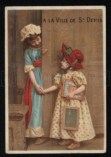 Two girls greeting each other at a door.