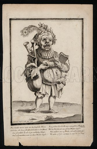 Man carrying a set of bagpipes and wearing a peacock feather headdress, surrealistic costume print, c1700.