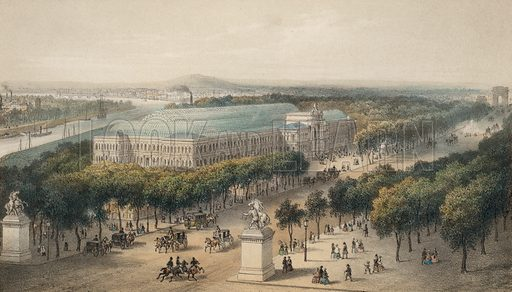 Champs Elysees and Palais de l'Industrie built for the Exposition Universelle 1855, Paris, France.