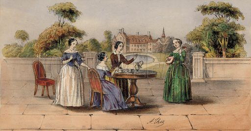 Women drinking tea or coffee in the garden of a country house.