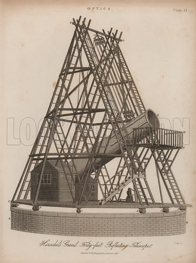 William Herschel's 40-foot reflecting telescope, Slough, Berkshire, 1819.