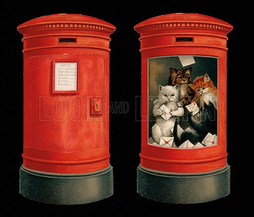 Cats inside a postbox, Christmas greetings card.