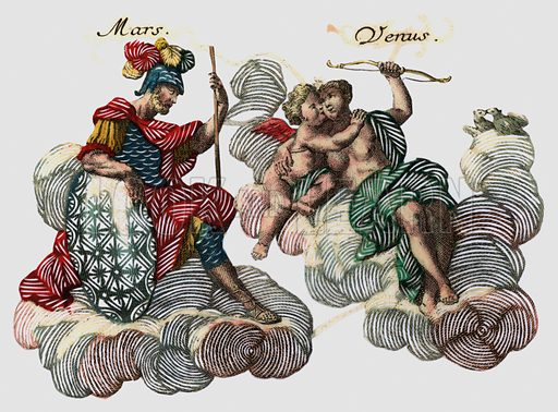 Mars and Venus, Roman gods of war and love.