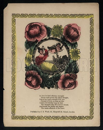 Cupid and woman in a garden surrounded by flowers, love poem.