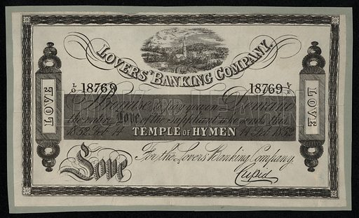 Promissory note from the Lovers Banking Company, Victorian Valentine's Day card, 1852.