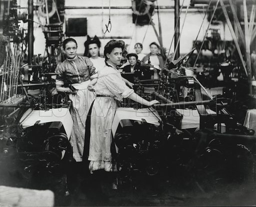 Women working in a factory, possibly a paper mill, World War I, 1914-1918.