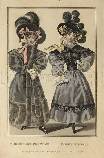 Women's promenade costume and carriage dress, 1829.