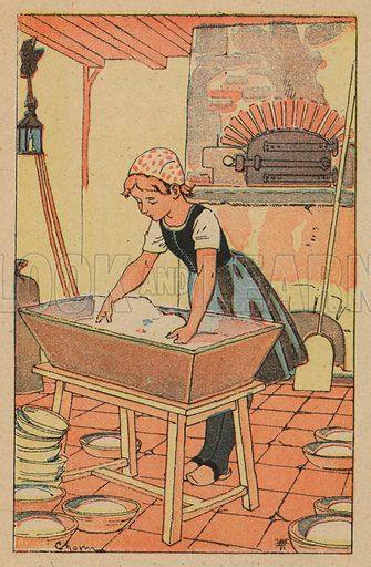 Young girl preparing dough to make bread.