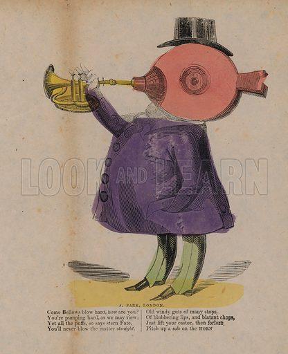 Bellows blowing a horn.