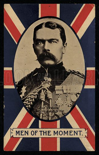 Herbert Kitchener, 1st Earl Kitchener, British Field Marshal and Secretary of State for War, 1914-1916. Postcard, early 20th Century.