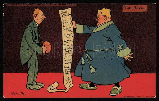 Man reading a lengthy bill from his plumber. Postcard, early 20th Century.