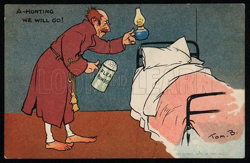 Man hunting for fleas in his bed. Postcard, early 20th Century.