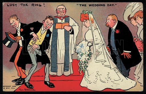 Bridegroom and best man unable to find the ring at a wedding. Postcard, early 20th Century.