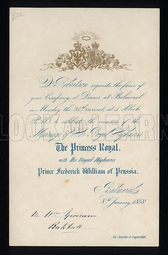 Invitation to a dinner celebrating the marriage of the Princess Royal and Prince Frederick William of Prussia, Balmoral Castle, Scotland, 8 January 1858.