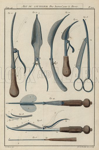 Instruments for hernia surgery.