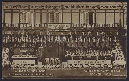 Shop front of W Parfrement & Sons, butchers, graziers and poulterers, Bognor Regis, Sussex.